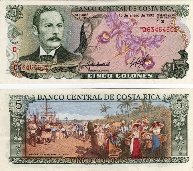 Billete de cinco Colones de Costa Rica