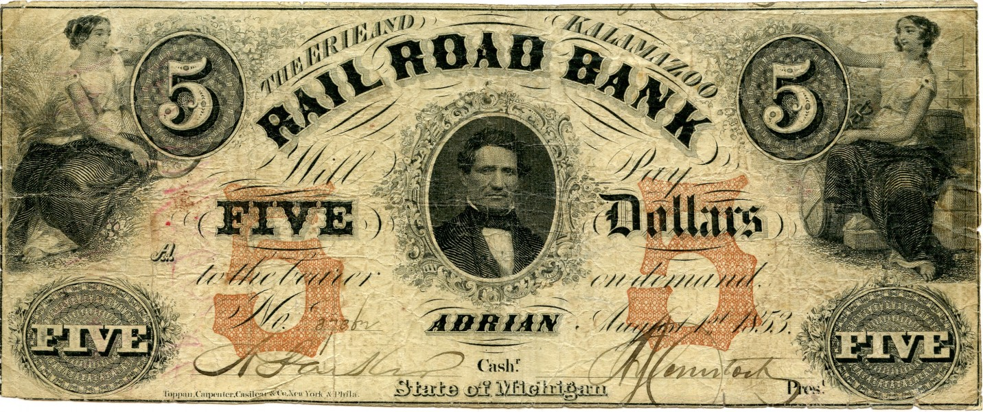 Erie and Kalamazoo Banknote 1853