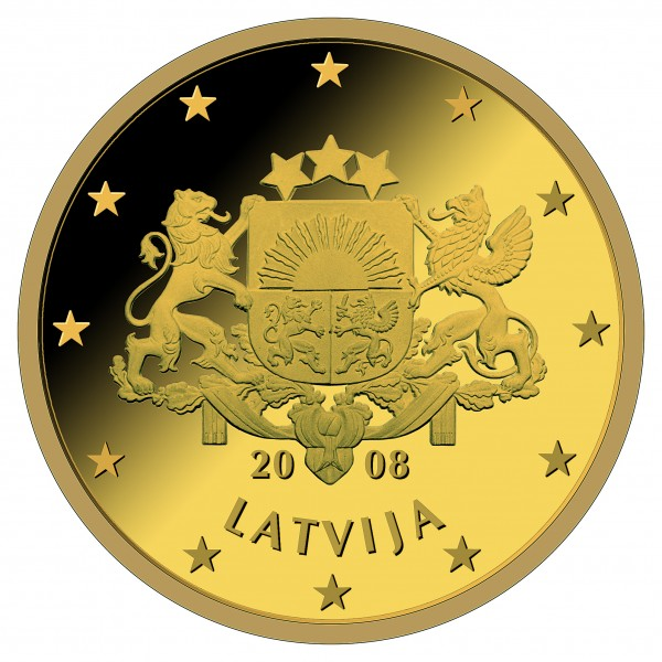 Latvian 50, 20 and 10 cent coin design