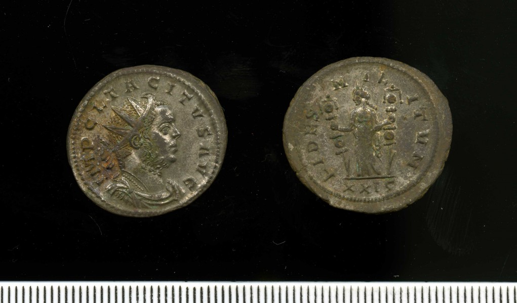 Silver-washed radiate of Tacitus 275-6 (11 2) Obv + Rev