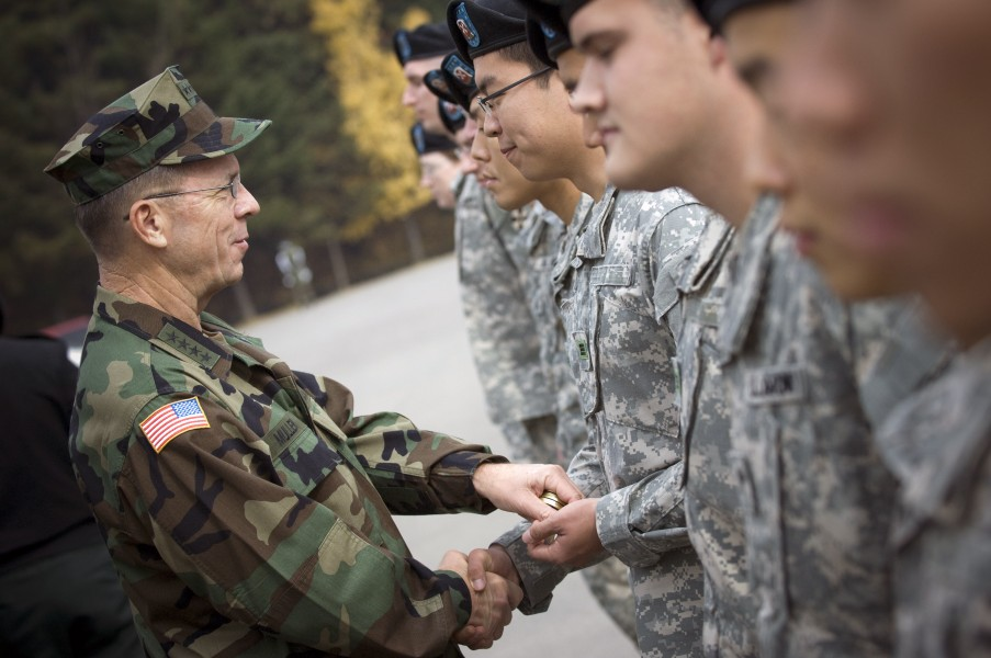 US Navy 071105-N-0696M-301 Chairman of the Joint Chiefs of Staff, Adm. Mike Mullen greets soldiers after a tour of the Demilitarized Zone separating North and South Korea