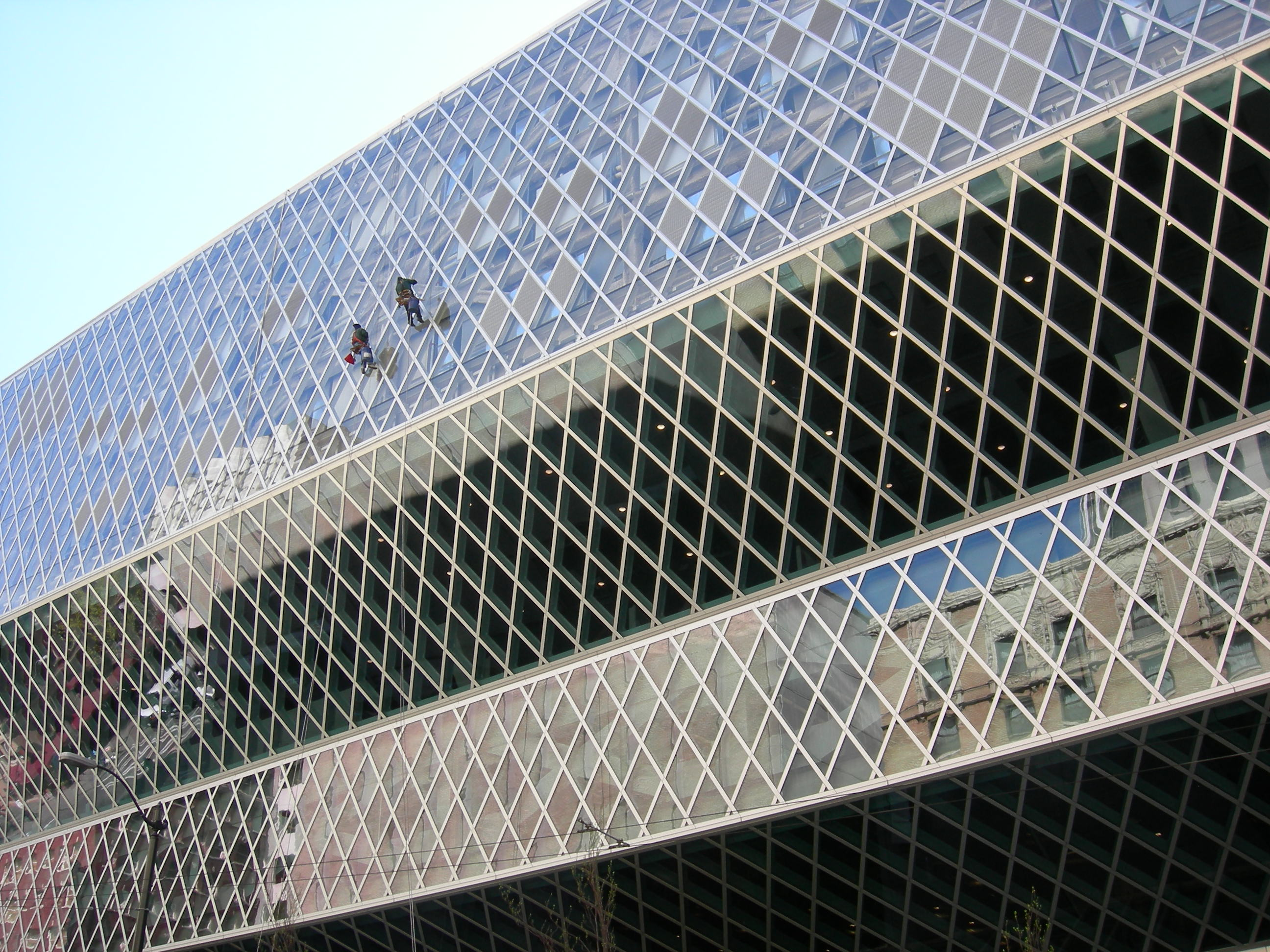 Seattle Public Library window washers 01