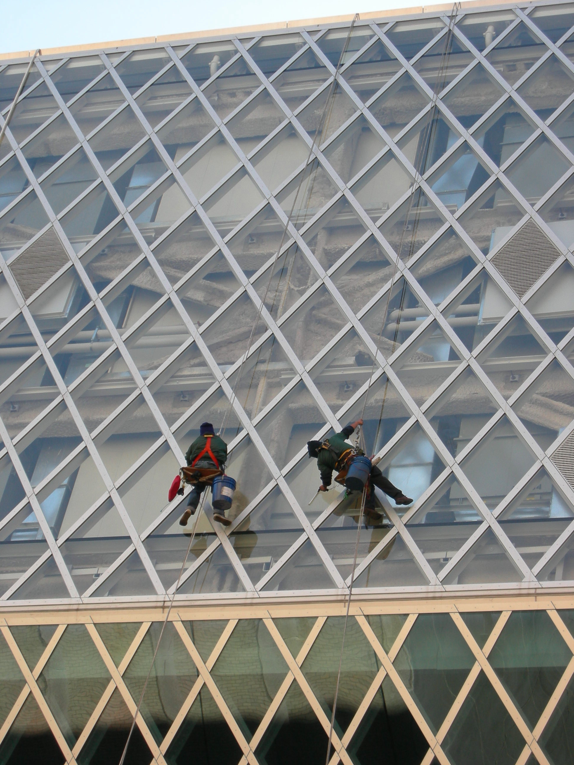 Seattle Public Library window washers 03
