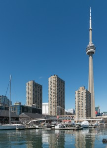 Toronto yacht harbor and CN Tower, Southeast view 20170417 1
