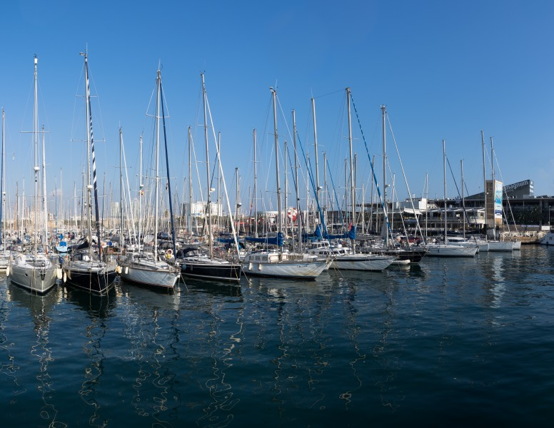 Boats in Port Vell in Barcelona