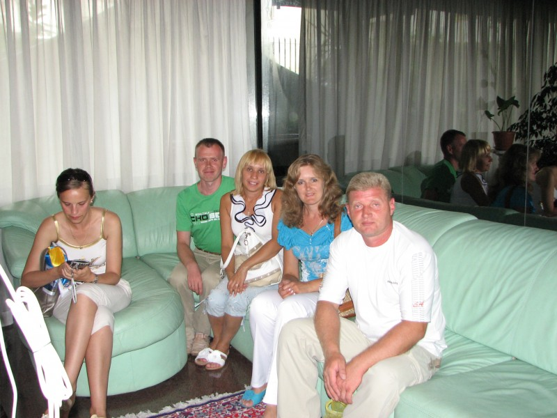 People in a hotel's lobby in Bari city, southern Italy, summer 2011, picture 1