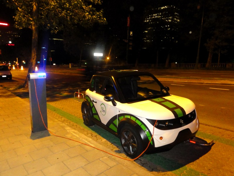an electric car in Brussels - the capital of Belgium and the de facto capital of the European Union