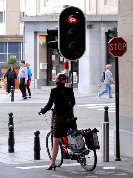 red street light for cyclists in Brussels, Belgium
