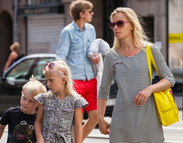 blond kids and a blond woman in Copenhagen, Denmark, June 2014, picture 31