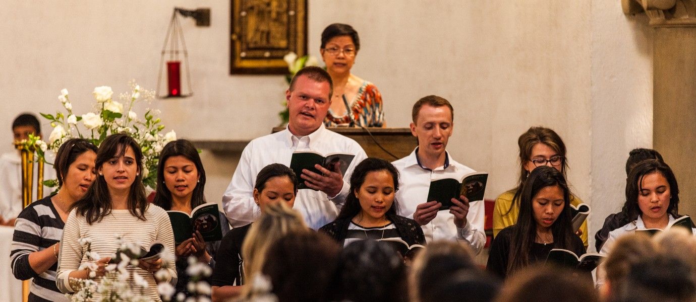 a choir singing in Sakramentskirken (a Roman-Catholic church), Copenhagen, Denmark, June 2014, picture 54