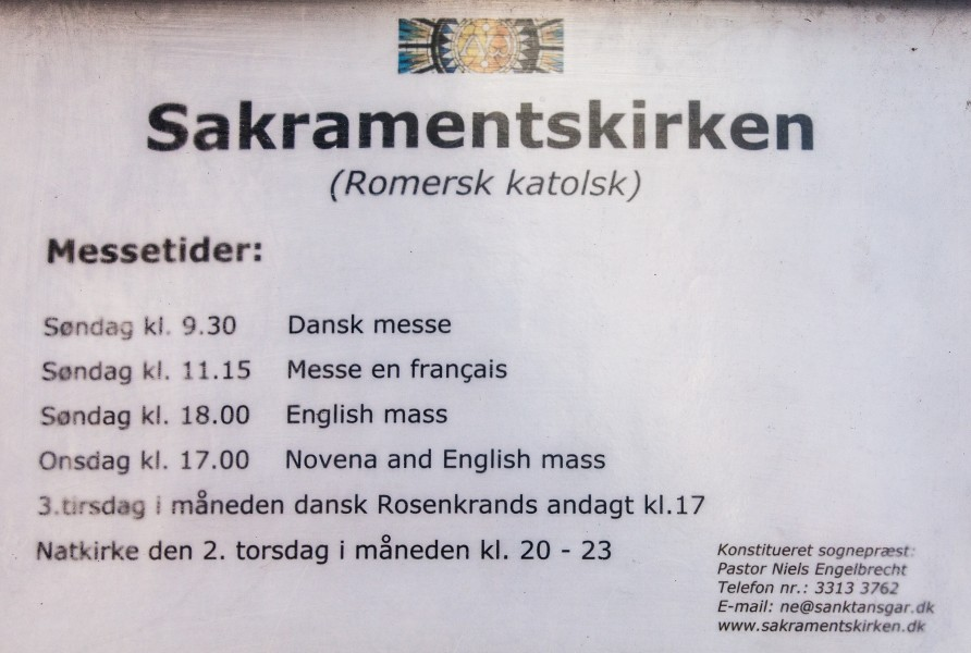 Sakramentskirken Holy Mass schedule (a Roman-Catholic church in Copenhagen), Denmark, June 2014, picture 55