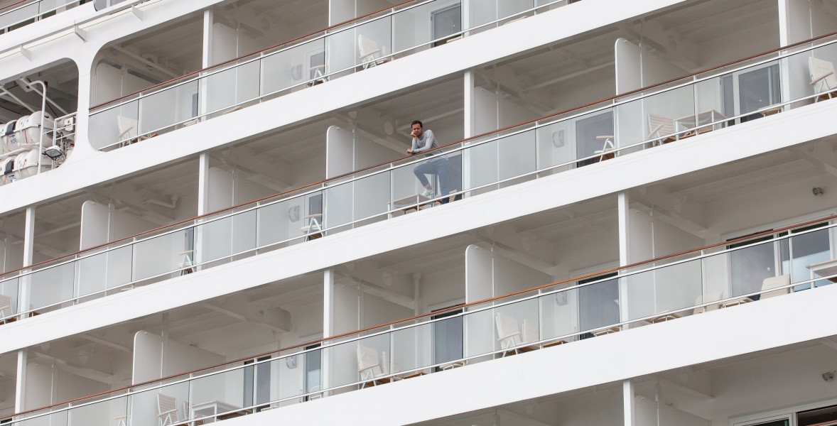 a man at the MS Europa 2 cruise ship, Copenhagen, Denmark, June 2014, picture 69