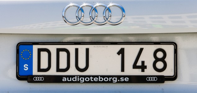 an Audi car number plate in Gothenburg, Sweden, June 2014, picture 13