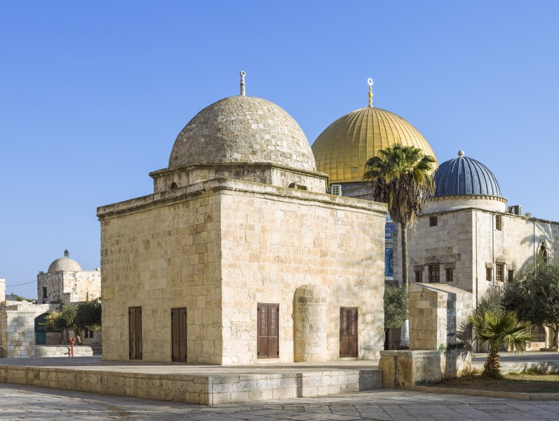 ISR-2013-Jerusalem-Temple Mount-Domes of Moses, the Rock, and Al-Nahawiyyah