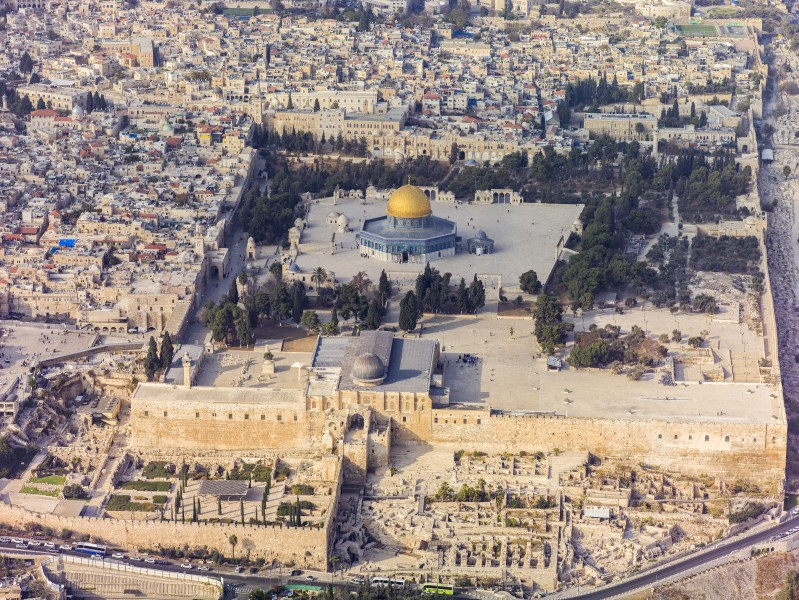 Israel-2013(2)-Aerial-Jerusalem-Temple Mount-Temple Mount (south exposure)