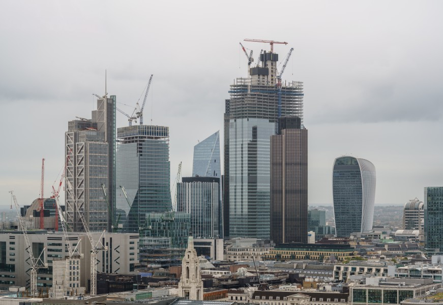 City of London skyscrapers from the terrace of the White Collar Factory, Old Street, 2018-09-22