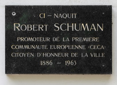 Luxembourg City Robert Schuman birthouse plaque