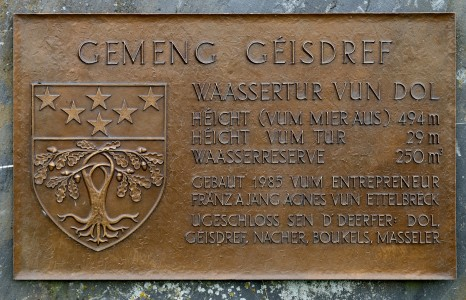 Luxembourg Dahl Water Tower Plaque