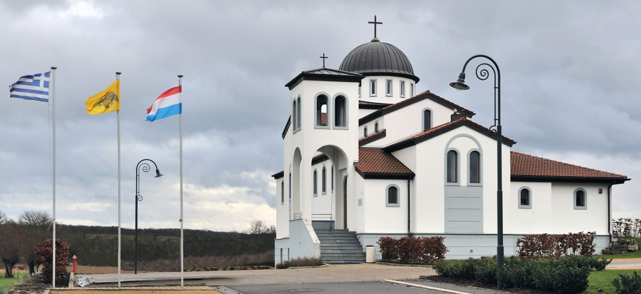 Luxemb Weiler-la-Tour, Greek Orthodox Church with flags