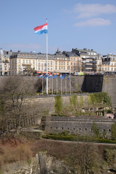 Luxembourg (city) - view from Metz square (flags)