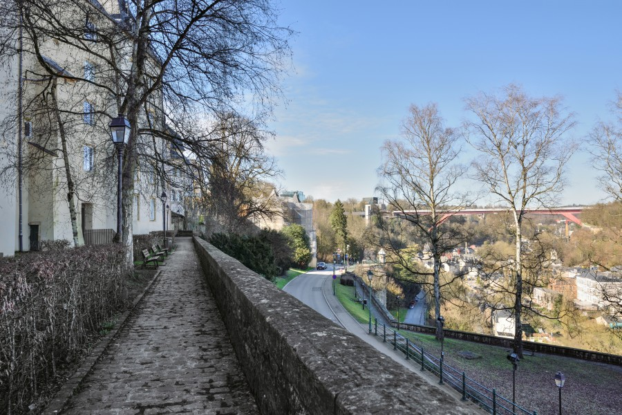 Luxembourg City - fortress wall - pont Grande-duchesse-Charlotte