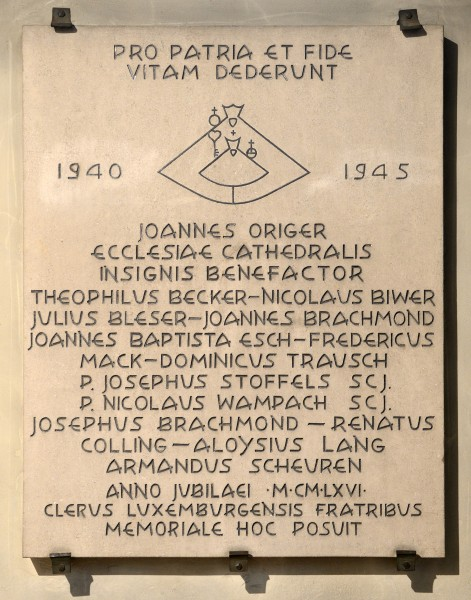 Luxembourg Notre-Dame Cathedral plaque World War II a