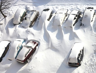 cars covered with snow in Lviv