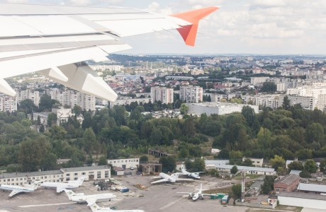 Lviv city, Ukraine from airplane, photographed in August 2014, picture 3