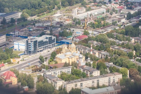 Lviv city, Ukraine from airplane, photographed in August 2014, picture 4