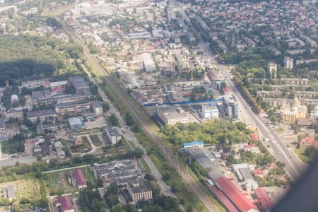 Lviv city, Ukraine from airplane, photographed in August 2014, picture 6