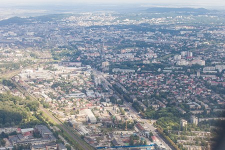 Lviv city, Ukraine from airplane, photographed in August 2014, picture 7