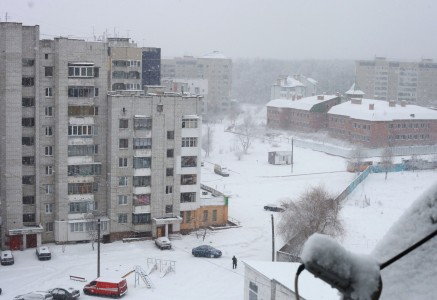 snowing in Lviv, in December 2012