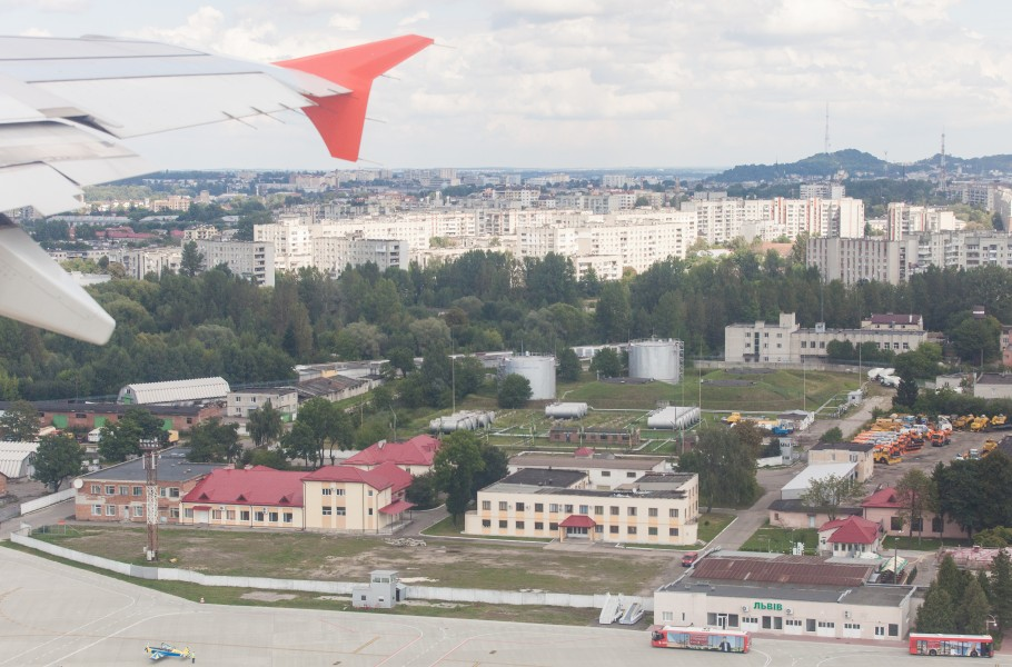 Lviv city, Ukraine from airplane, photographed in August 2014, picture 2