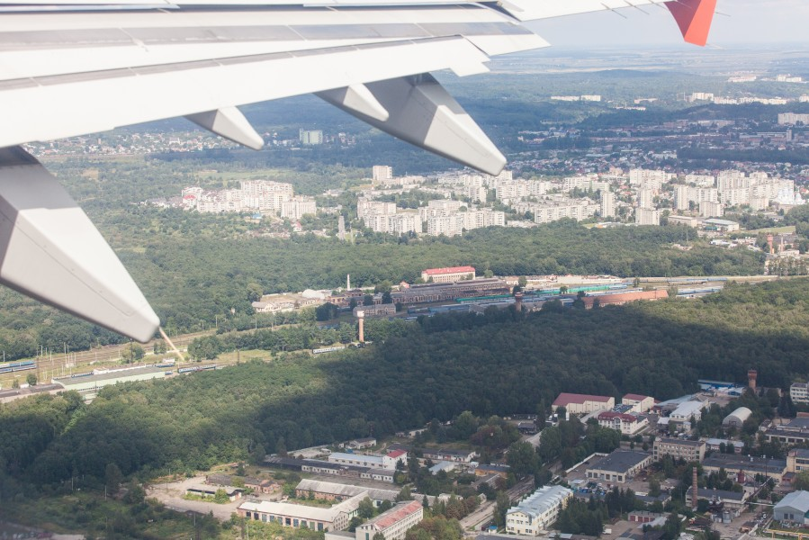 Lviv city, Ukraine from airplane, photographed in August 2014, picture 5