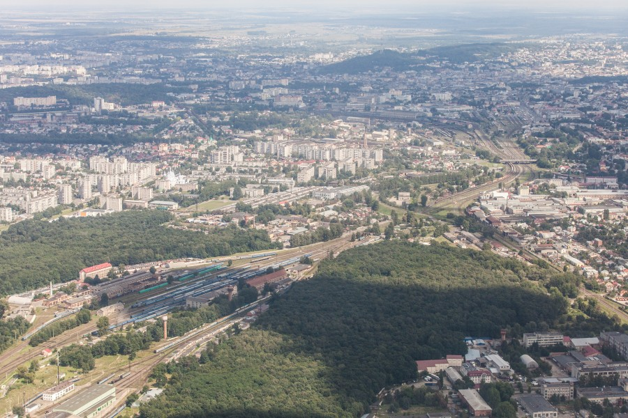 Lviv city, Ukraine from airplane, photographed in August 2014, picture 8