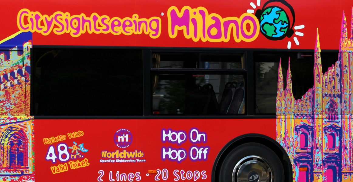 a sightseeing bus in Milan, Italy, European Union, August 2013, picture 2