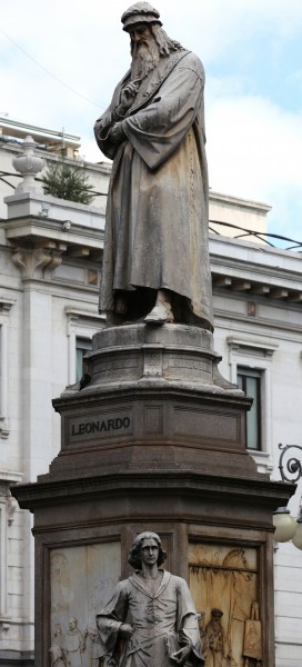 Leonardo da Vinci statue in Milan, Italy, European Union, August 2013, picture 46