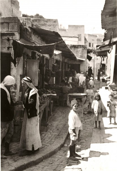 Street in older Nazareth, vegetable market