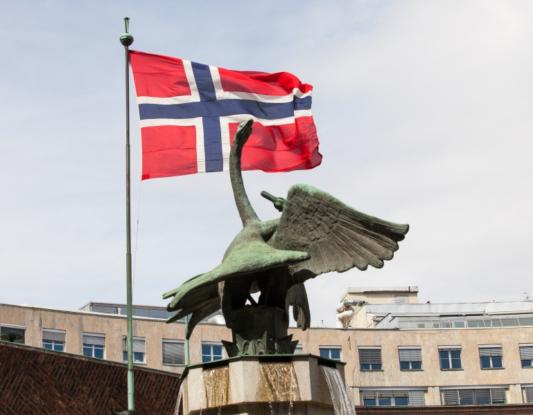 Norway flag in Oslo city, Norway, June 2014, picture 2