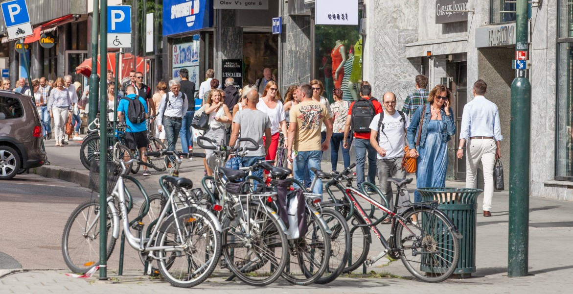 people walking in downtown Oslo, Norway, June 2014, picture 29