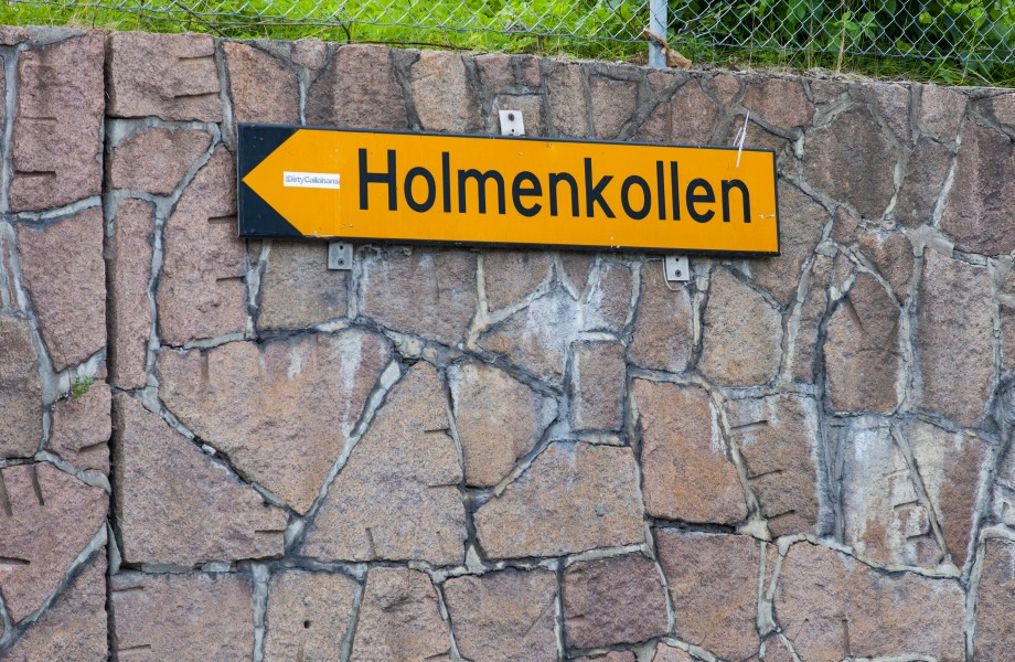 a sign directing to Holmenkollen in Oslo city, Norway, June 2014, picture 47