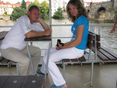 Husband and wife on a boat on Vltava river in Prague (Praha) city, Czech Republic, European Union, picture 28