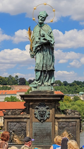 Prague 07-2016 Charles Bridge John of Nepomuk statue img2