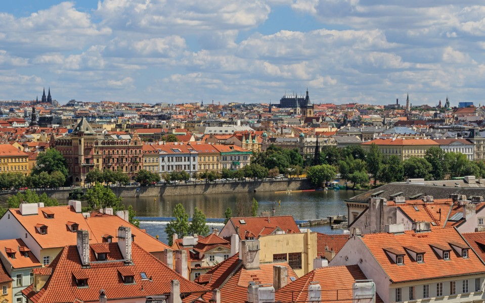 Prague 07-2016 view from Lesser Town Tower of Charles Bridge img2