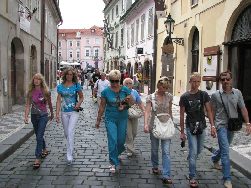 People walking on a street in Prague (Praha) city, Czech Republic, European Union, picture 13