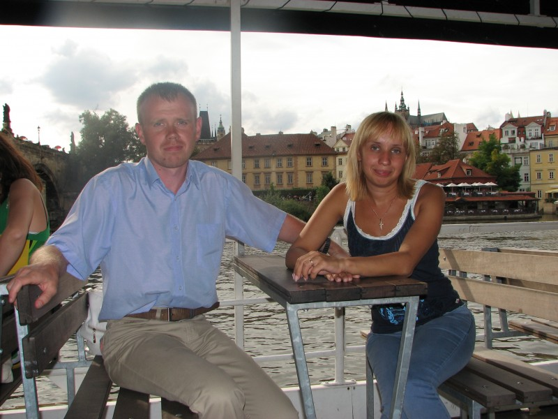 Husband and wife on a boat on Vltava river in Prague (Praha) city, Czech Republic, European Union, picture 29