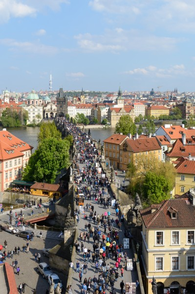 Praha Charles Bridge from Malá Strana Bridge Tower 20170430 01