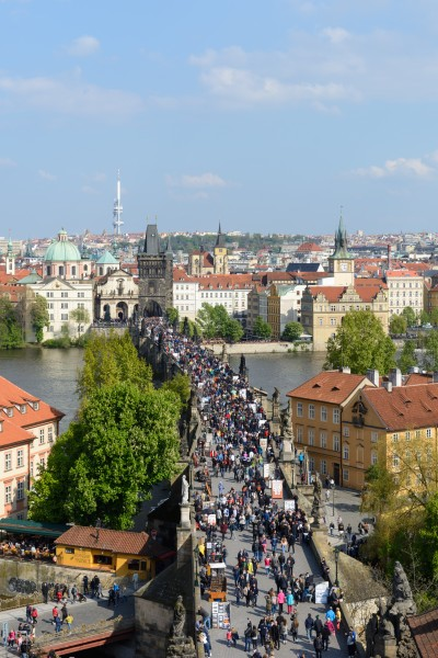 Praha Charles Bridge from Malá Strana Bridge Tower 20170430 02