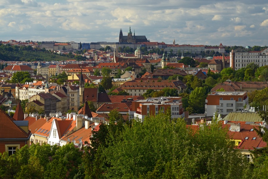 View of Prague and St. Vitus Cathedral from Vyšehrad. Czech Republic