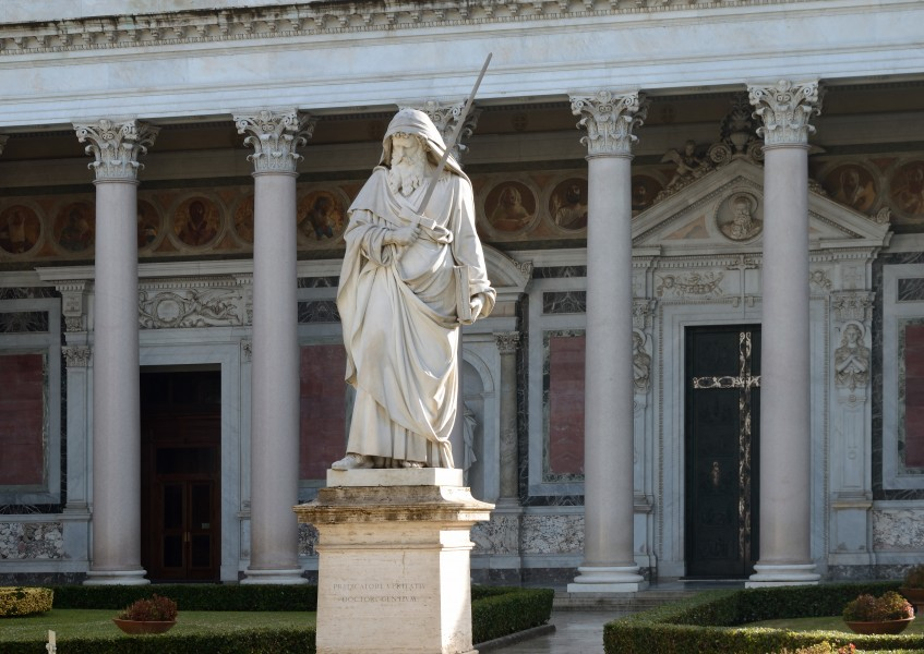 Statue and Colonnade of Saint Paul in Rome
